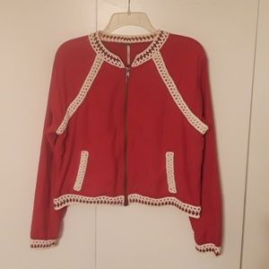 Free People Jacket Red with Cream Knit Trim